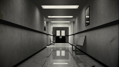 Scary Hospital Corridor 8 vintage Stock Video Footage