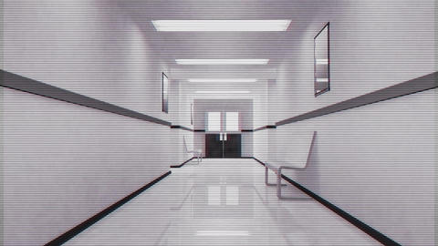 Scary Hospital Corridor 10 security cam Stock Video Footage