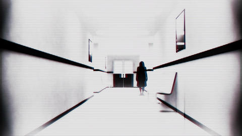 Scary Hospital Corridor 12 yurei security cam Stock Video Footage