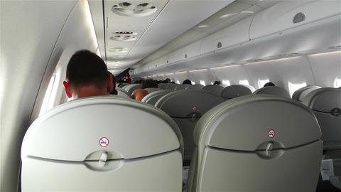 Small Airplane Interior During Flight Stock Video Footage