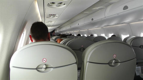 Small Airplane Interior During Flight stock footage