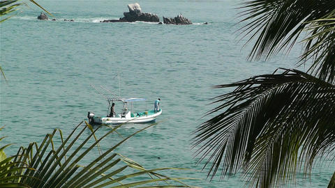 Tropical Paradise in Mexico 24 fisherman boat Stock Video Footage