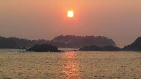Tropical Sunrise in Hazy Morning 1 Stock Video Footage