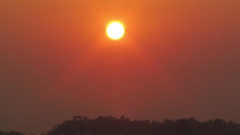 Tropical Sunrise in Hazy Morning 3 Stock Video Footage