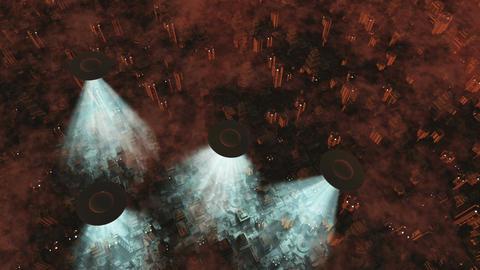 UFO Invasion Scanning in Metropolis 12 Stock Video Footage