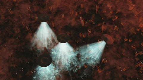 UFO Invasion Scanning in Metropolis 12 Animation