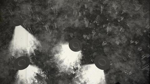 UFO Invasion Scanning in Metropolis 14 vintage Stock Video Footage