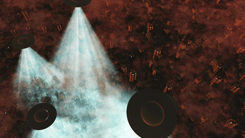 UFO Invasion Scanning in Metropolis 16 Stock Video Footage