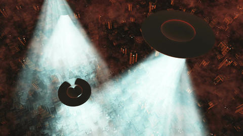 UFO Invasion Scanning in Metropolis 16 Animation