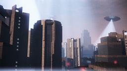 UFO Invasion Scanning in Metropolis 20 Stock Video Footage