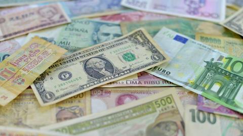4k UHD world money dolly DOF 10885 Stock Video Footage
