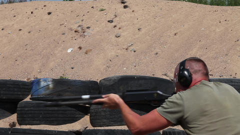 Man shooting rifle Stock Video Footage