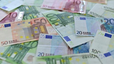 many euro money dolly DOF 10888 Stock Video Footage