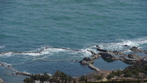 overlook sea & sparkling waves Stock Video Footage