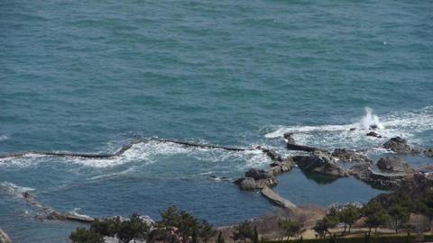 overlook sea & sparkling waves Stock Video Footage