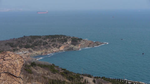 overlook island & sparkling waves Stock Video Footage