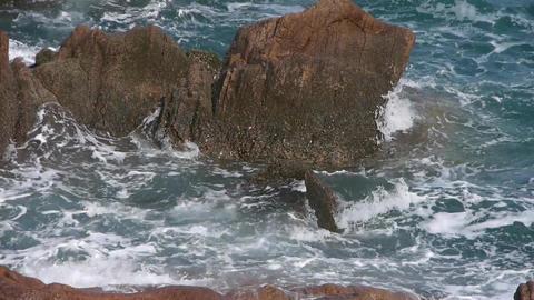 Sparkling sea surface & rock reef coastal Footage