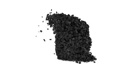 Black collision of stones in 3d style on white Animation