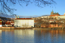 Beautiful Architecture on the Vltava River, Prague, Czech Republic フォト