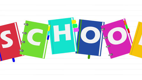 Animated illustration with the word school and school notebooks Animation
