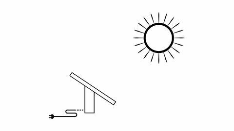 sun and solar panels Animation