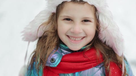 Preschool child in winter outfits with pretty face. Portrait Little Child Girl Live Action