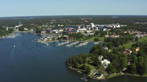 Aerial view of summer in the archipelago community Gustavsberg outside Stockholm Live Action