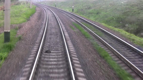 Railroad track. View from the last wagon Footage