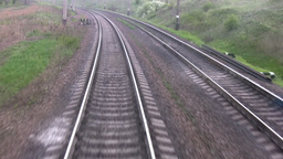 Railroad track. View from the last wagon Stock Video Footage