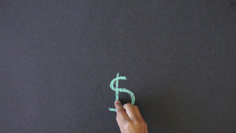 Dollar Sign Chalk illustration Stock Video Footage
