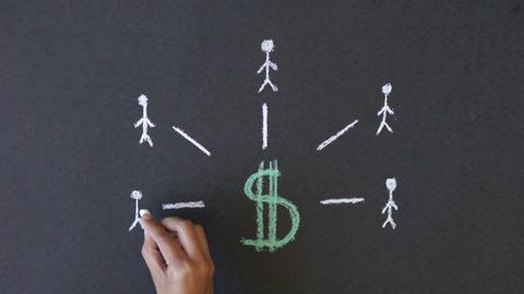 Dollar Sign Chalk illustration Stock Video Footage
