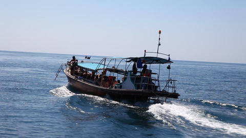 Boat floats on the sea Footage