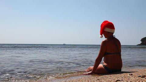 Santa on caribbean beach Footage