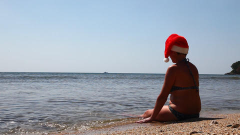 Santa on caribbean beach Stock Video Footage