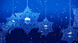 Animated background with snowflakes and particles of snow Stock Video Footage