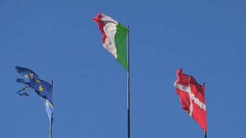 flag EU Italy Denmark Footage