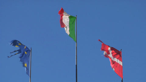 flag EU Italy Denmark Stock Video Footage