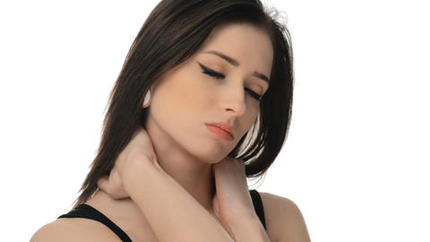 young woman suffering from severe neck ache Stock Video Footage
