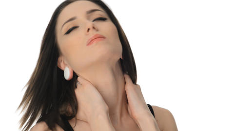young woman suffering from severe neck ache Footage