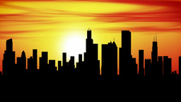 Chicago City Skyline Sunset Timelapse stock footage