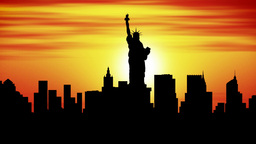 New York city skyline timelapse sunset Animation