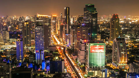 BANGKOK NIGHT SKYLINE - TIME LAPSE Stock Video Footage