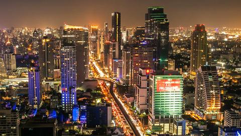 BANGKOK NIGHT SKYLINE - TIME LAPSE Footage
