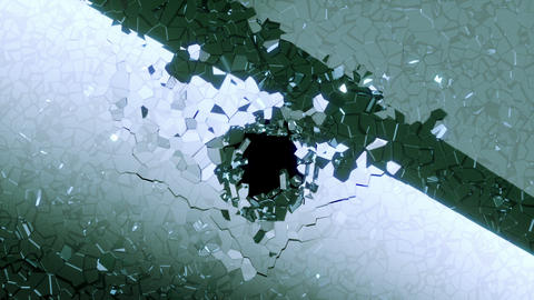 Shattered glass: broken heart shape with slow motion.... Stock Video Footage