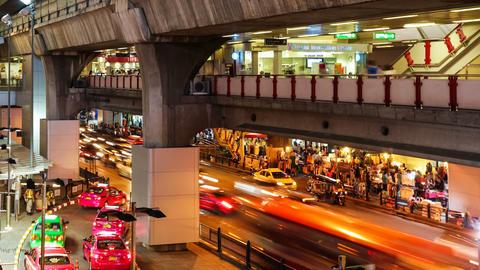 CITY TRAFFIC AT NIGHT - BANGKOK TIME LAPSE Stock Video Footage