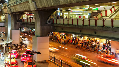CITY TRAFFIC AT NIGHT - BANGKOK TIME LAPSE Stock Video Footage