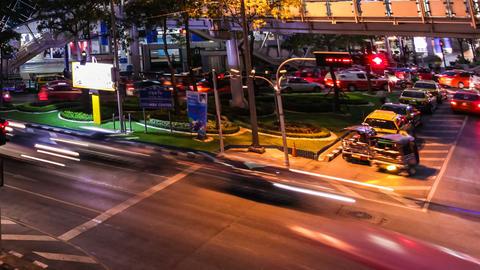 COLORFUL NIGHT TRAFFIC TIME LAPSE - BANGKOK Stock Video Footage