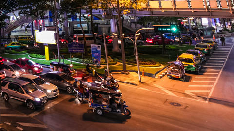 COLORFUL NIGHT TRAFFIC TIME LAPSE - BANGKOK Footage