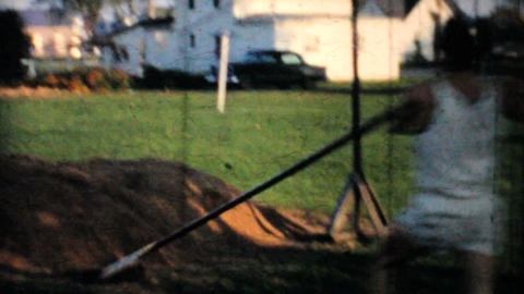 Backyard Pole Vaulting Practise 1962 Vintage 8mm film Stock Video Footage