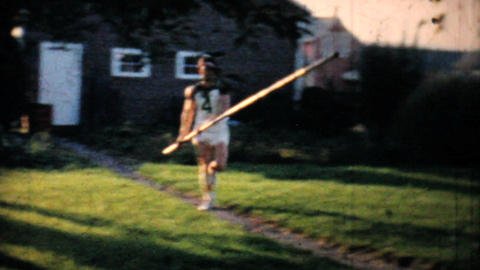 Backyard Pole Vaulting Practise 1962 Vintage 8mm film Footage